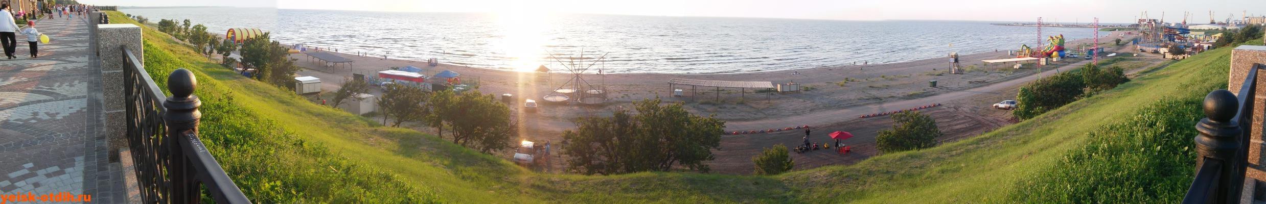 Панорама пляжа Каменка Ейск Азовское море
