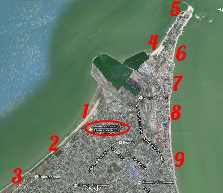 133 Карта пляжей Ейска