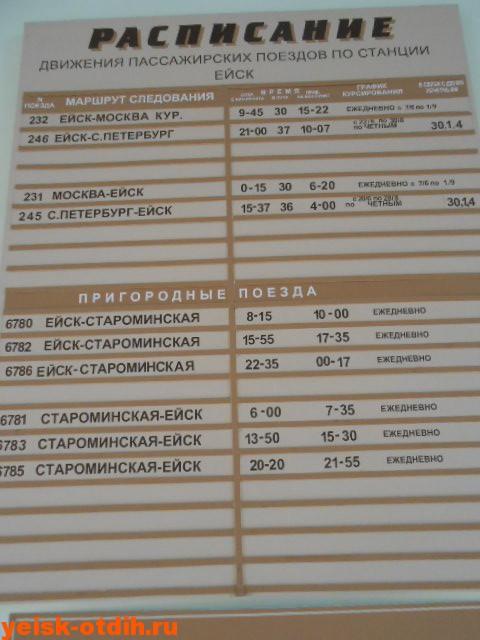 расписание поездов ейск