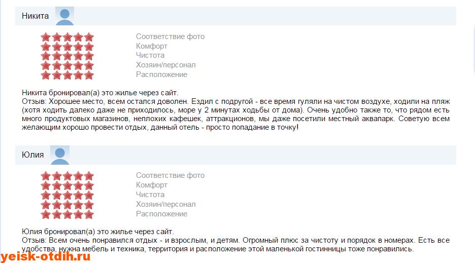 отзывы о мини гостинице У Азовского моря ейск