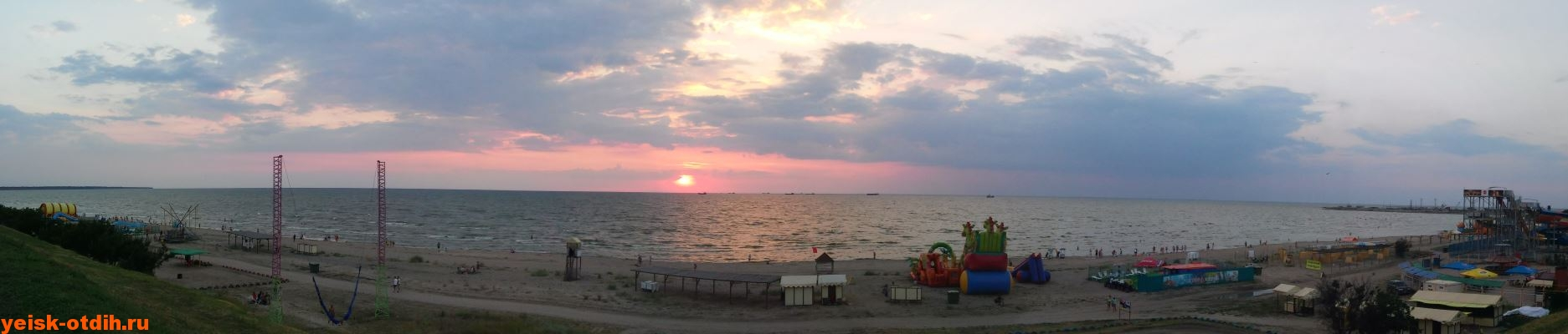 Широкоформатное фото пляж Каменка Ейск вечер Закат